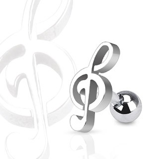 Tragus piercing with music key