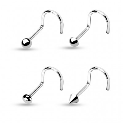 Nose screw with four different top types - 1 mm - Flat Ball