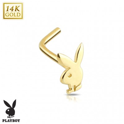Solid gold nose piercing with Playboy bunny