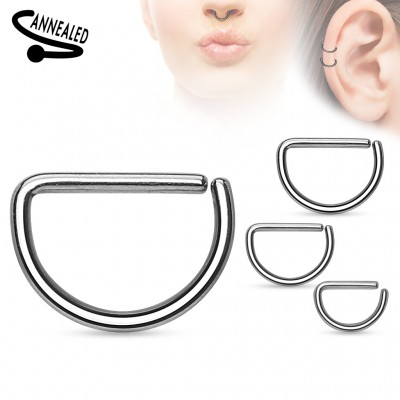 Multifunctional piercing ring with D shape
