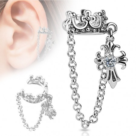 Clip on helix ring met ketting kroon en kruis