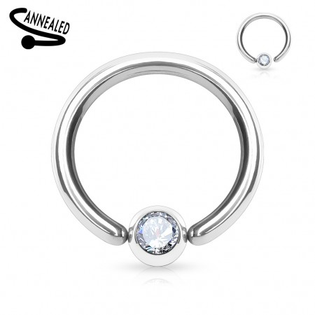 Ball closure ring met vast juwelen balletje