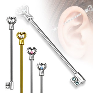Industrial piercing with heart key and diamonds