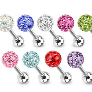 Barbell with smooth coloured crystal ball