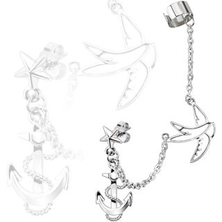 From earlobe to helix clip on chain with swallow and anchor