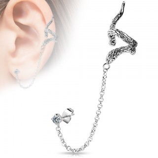 From earlobe to helix clip on chain with snake