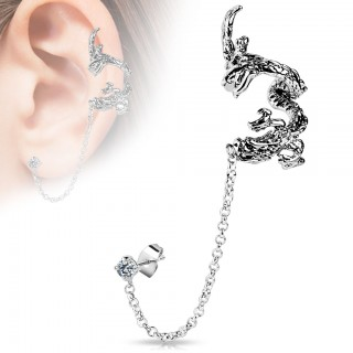 From earlobe to helix clip on chain with dragon