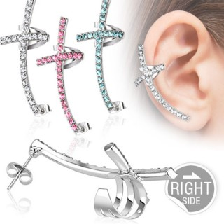 Earlobe to helix clip on shield with cross of coloured crystals