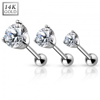 Solid white gold tragus piercing with clear crystal