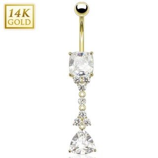 Solid gold belly ring with Trillion and Princess cut crystals on pendant