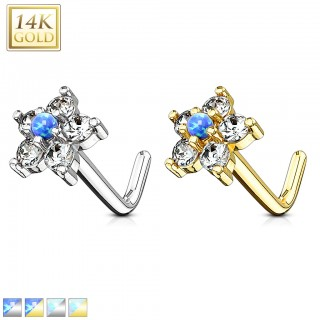 Solid white gold stud nosepiercing with coloured star crystal