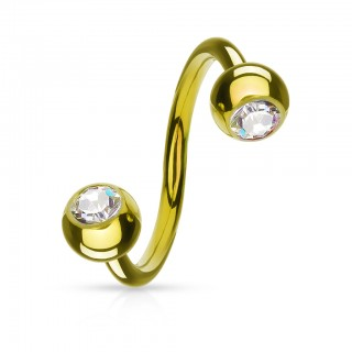 Gold plated twister with ball and crystal