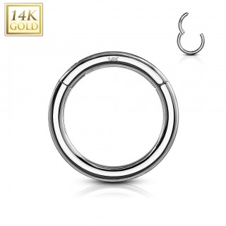 Solid 14 kt. white gold segment ring with hinged segment