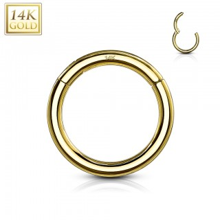 Solid 14 kt. yellow gold segment ring with hinged segment