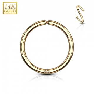 Multifunctional bendable piercing ring of solid yellow gold