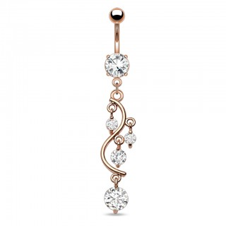 Rose gold plated belly piercing with dangling gems