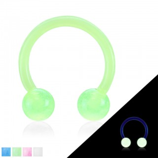 Coloured circular barbell with glow in the dark balls