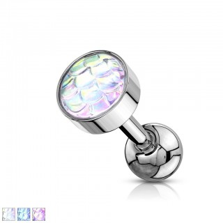 Ear piercing barbell with fish scale ball