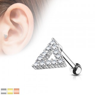 Cartilage ear stud with crystal triangle top