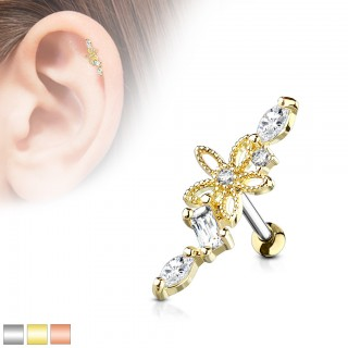 Wide ear piercing with hollow flower and clear crystals