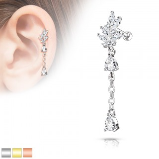 Cartilage piercing with leaf and crystals on long chain