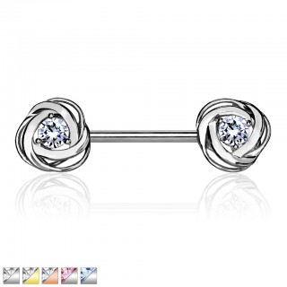 Nipple barbell with coloured crystal in rose blossom