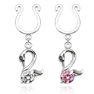 Fake nipple ring with swans