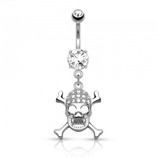 Belly bar with crystal skull dangle