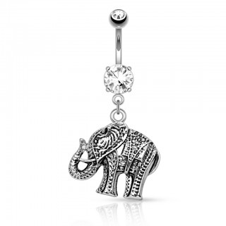 Belly button piercing with Elephant dangle