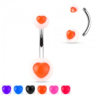 Belly ring with coloured and see-through heart