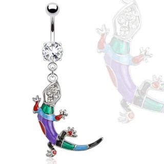 Belly ring with rainbow coloured lizard