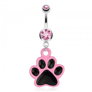 Belly bar with black dog paw in pink dangle