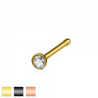 Coloured nose bone with clear diamond