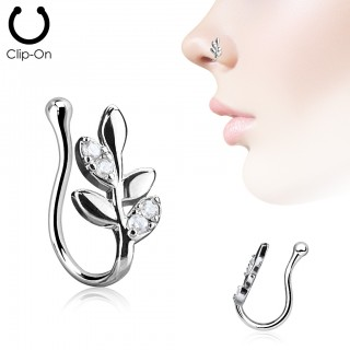 Nose clip piercing with olive branch and crystal leafs