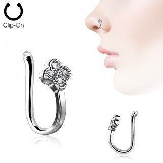 Silver nose clip piercing with top of 4 crystals
