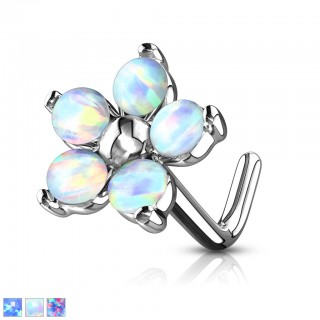 Nose stud with tear drop and prong set opal
