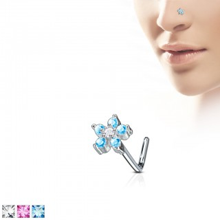 L-bend nose stud with coloured flower