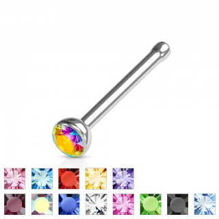 Nose studs with coloured crystal