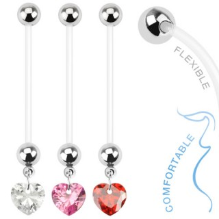Flexible pregnancy belly bar with crystal heart