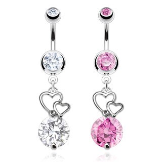 Belly bar with dangling hearts and diamond
