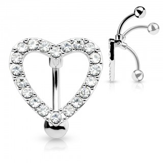 Reverse belly button bar with clear heart