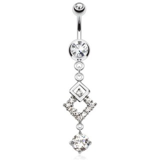 Silver belly bar with two squares and clear diamonds