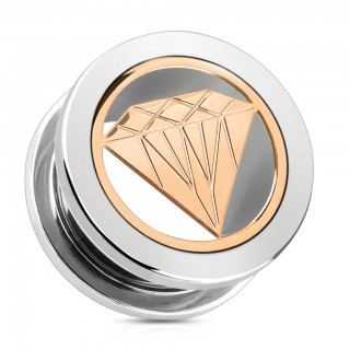 Screw fit tunnel with rose gold diamond