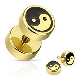 Gold plated fake plug with Ying Yang print