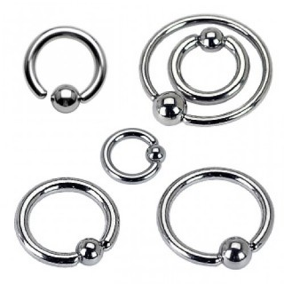 Steel ball closure ring with fixed ball