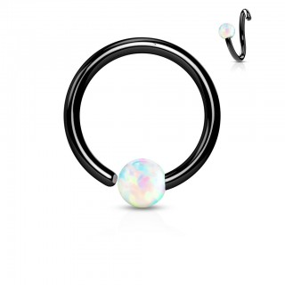 Black piercing ring with fixed white opal ball