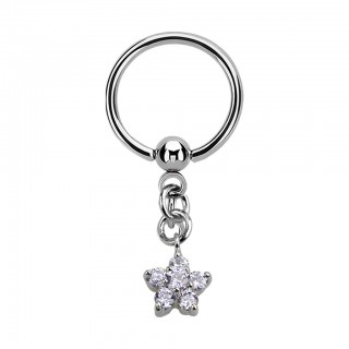 Ball closure ring with dangling clear crystal flower