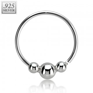 Nose ring with three fixed balls