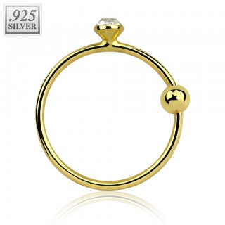 Gold nose ring with clear crystal and ball