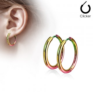Pair of rainbow coloured earrings with hinge action